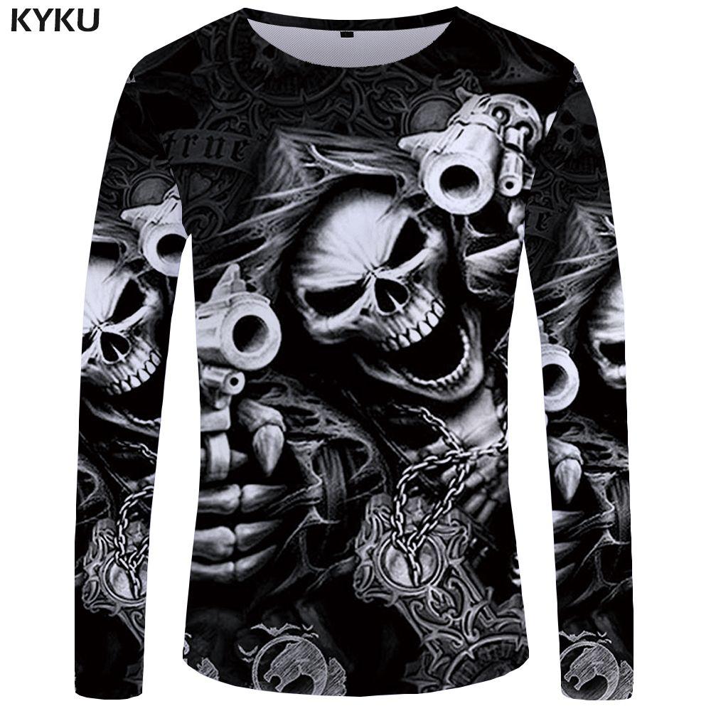 KYKU Brand Skull Long sleeve T shirt Gun Clothes Punk Clothing Gothic Tshirt Funny T shirts Tees Men Hip hop Punk High Quality