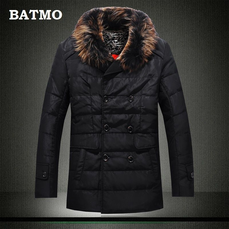 BATMO 2018 new arrival high quality winter warm 90% white duck down jackets men,men's Double Breasted casual down jackets