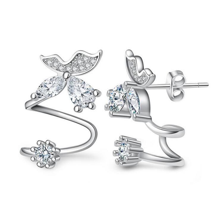 2017 nueva llegada de venta caliente de la manera linda mariposa 925 regalo del Día de San Valentín de plata 'aretes de joyería al por mayor