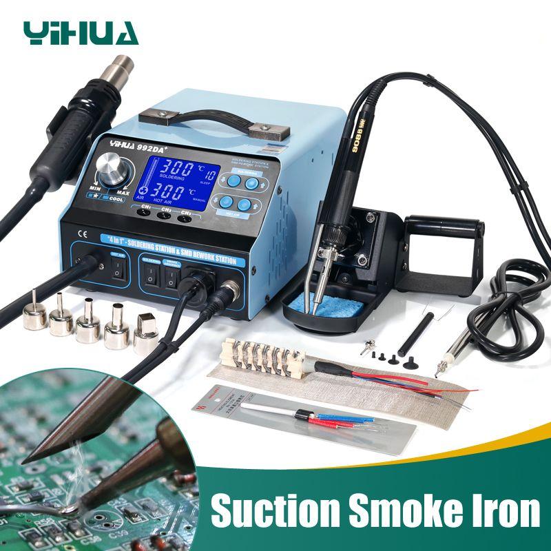 YIHUA 992DA + Air Chaud LCD matériel de soudure Fer À Souder Avec BGA Station de Reprise de Fumer 4 Dans 1 Vide Stylo