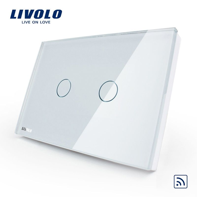 Livolo US/AU standard White Crystal Glass Panel, AC 110~250V,Wireless Remote Home Light Switch VL-C302R-81,No remote controller