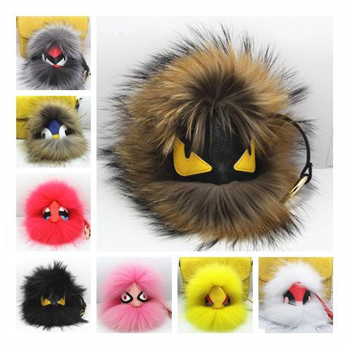 18cm Real  Fur Pom Poms Bag Bug Little Monster Bag Charm Genuine Raccoon Fur Pompom Keychain Luxury Car Jewelry Pendant  F385