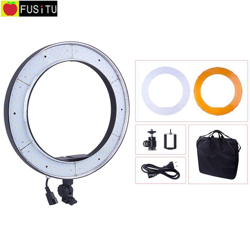 18 <font><b>5500K</b></font> 240pcs RL188 Photography LED Photo Ring Light Studio Dimmable Camera Ring Light Lamp Kit for DSLR Camera Makeup Photo