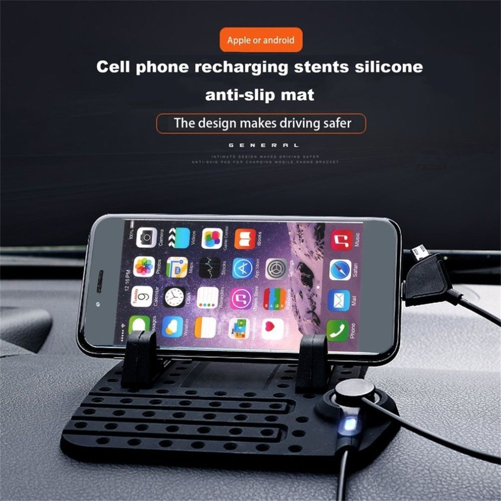Magnetic Charging Dashboard Stand Anti-slip Silicone Pad Air Vent With 2 in 1 Charging Cable with Magnetic Stander car styling