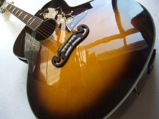 Sunset J200 classic acoustic guitar,Top quality J200vs electric acoustic guitar,Solid Sprue top,Factory Maple J200 guitar 100918