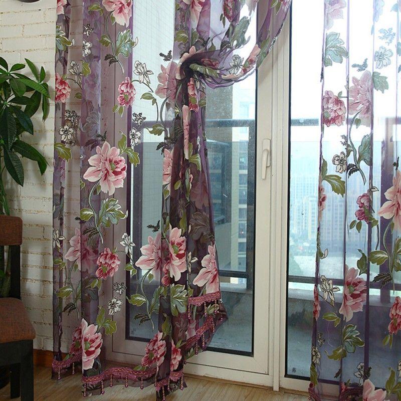 Fleur brodé luxe 3D Voile rideaux tissu Tulle pure rideaux pour cuisine chambre salon décoration