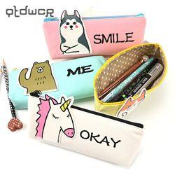 Animal Unicorn Pencil Case School Supplies Stationery Gift Students Cute Canvas Pencil Box Pencilcase Pencil Bag School Supplies