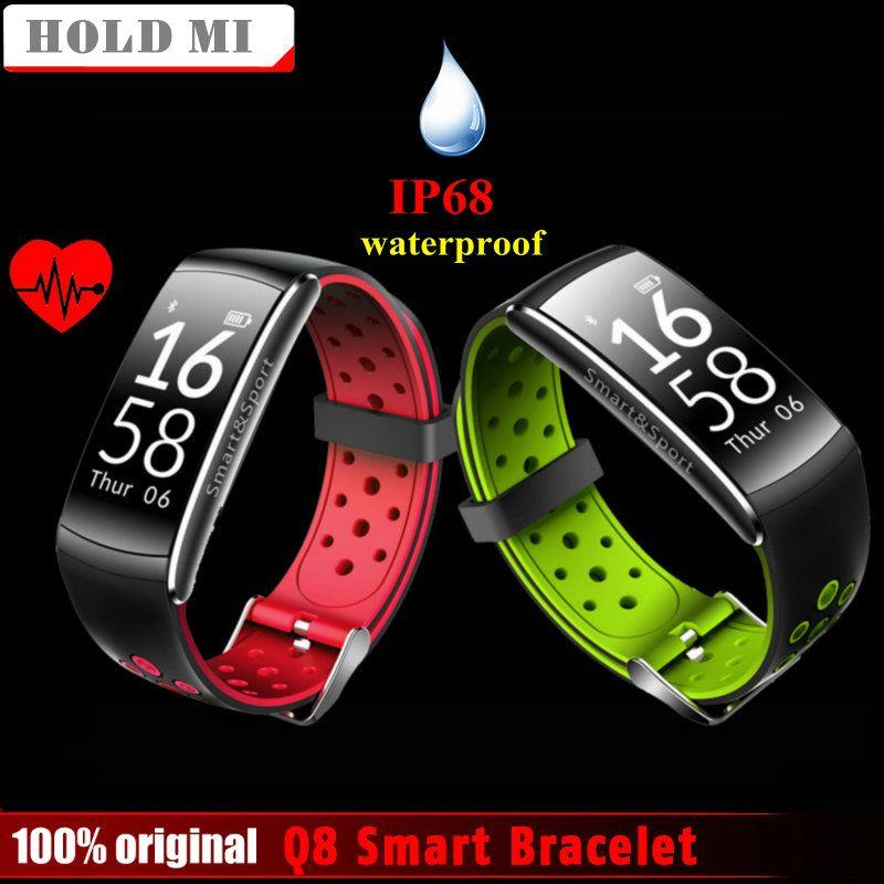 Halten Mi Q8 Bluetooth IP68 Wasserdicht Smartband Pulsmesser Smart Armband Fitness Tracker für Ios Android-Handy