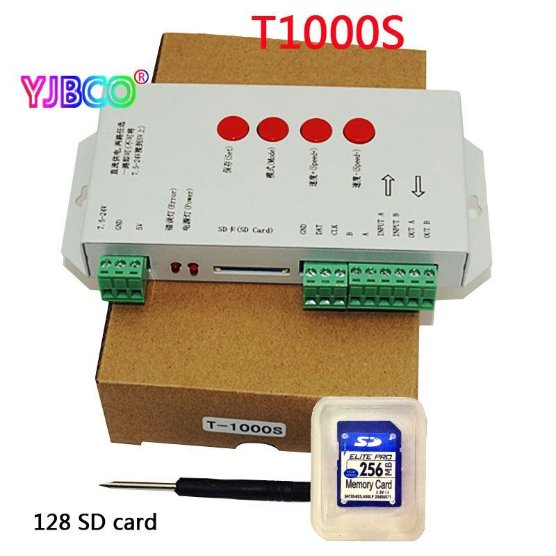 New DC5~24V T-1000S SD Card Controller for LPD6803 WS2811 WS2801 8806 led pixel controller full color RGB play video SPI