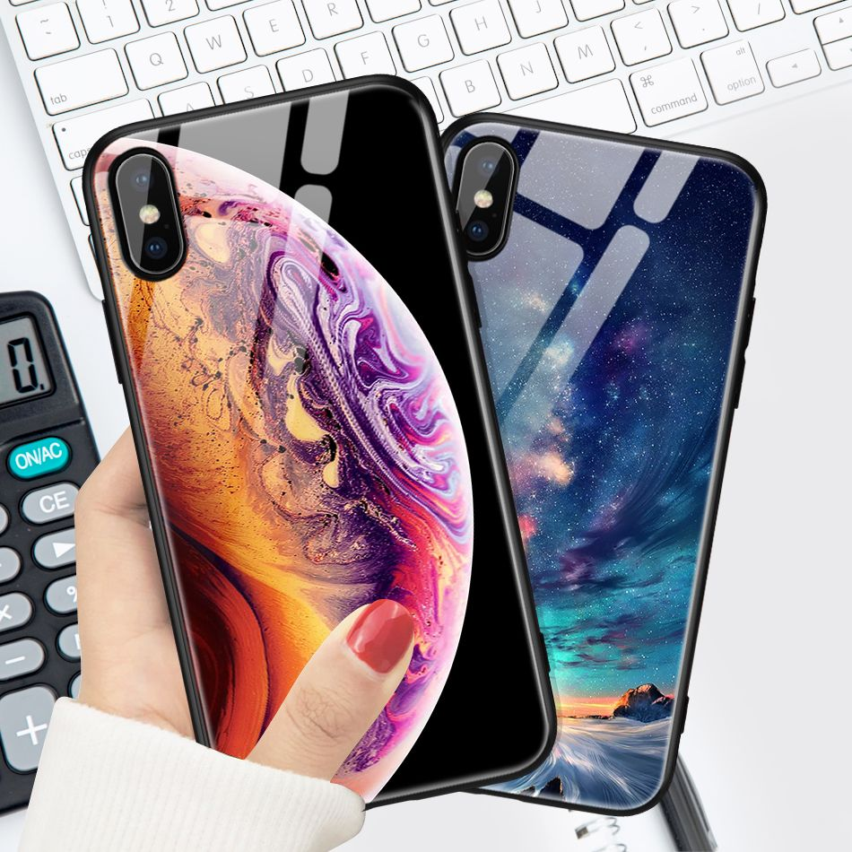 UTOPER Tempered Glass Case For iPhone 7 8 Plus Case Luxury Star Space Cover For iPhone X Case For iPhone6s 6 6s 7Plus XS Max XR