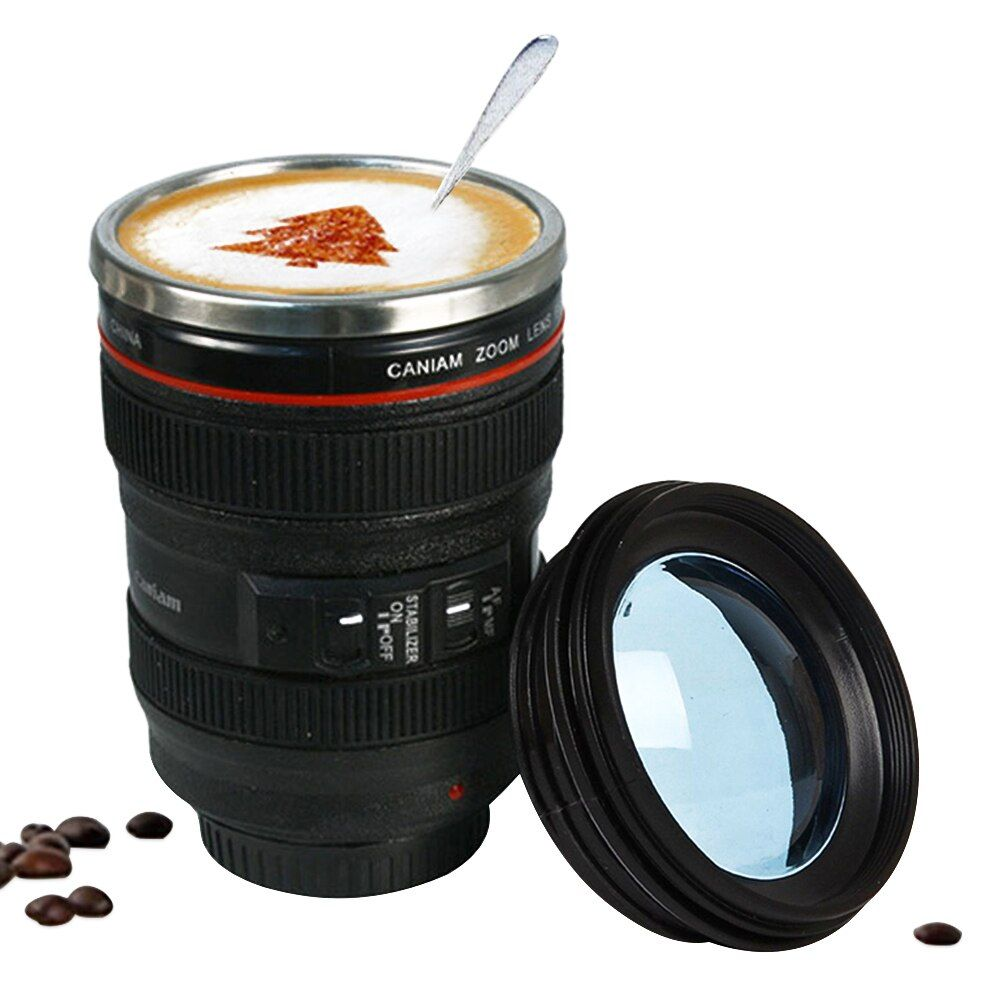 400ml Stainless Steel Camera Lens Mug With Lid New Fantastic Coffee Mugs Tea Cup Novelty Gifts Caneca Lente Cups Drinkware