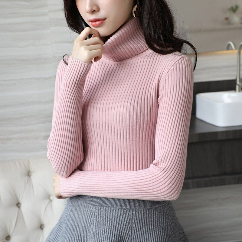 High Quality Women Sweater New Turtleneck Pullover Winter Tops Solid Cashmere Sweater Autumn Female Sweater Hot Sale