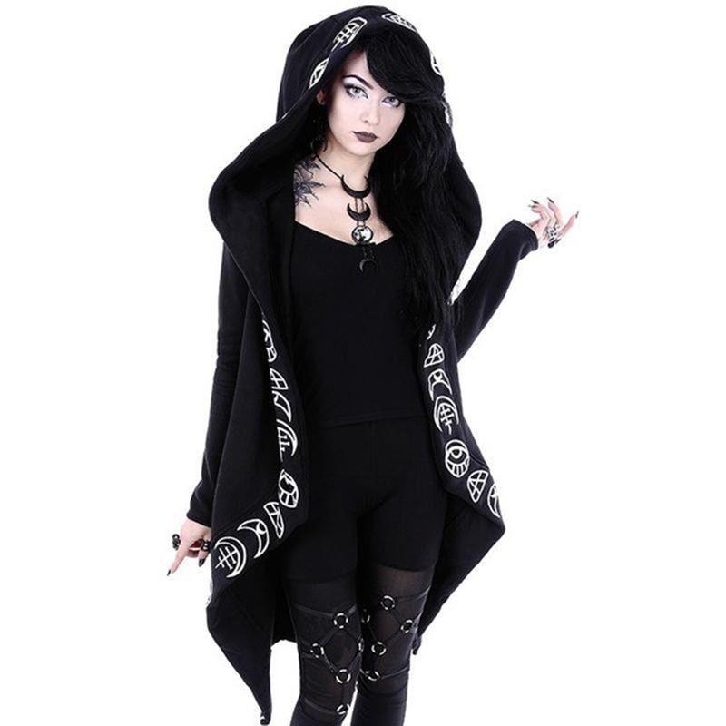 2018 Automne Gothique Casual Cool Chic Noir Plus La Taille Femmes Shirts Lâche Coton À Capuche Plaine Impression Femelle Punk Hoodies
