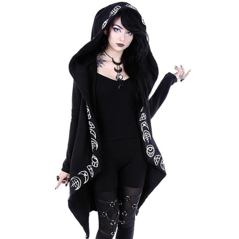 2018 Fall Gothic Casual Cool Chic Black Plus Size Women Sweatshirts Loose Cotton Hooded Plain Print Female Punk Hoodies
