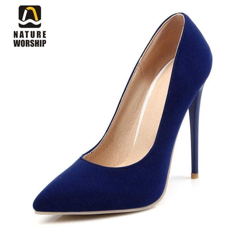 Hauts talons minces 12 cm 10 cm Nubuck cuir femmes chaussures mode bout pointu pompes Mature sexy fête chaussures élégantes pompes concises
