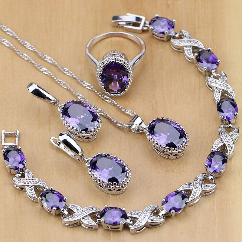 Natural 925 Silver Jewelry Purple Cubic Zirconia White Crystal Jewelry Sets For <font><b>Women</b></font> Earrings/Pendant/Necklace/Rings/Bracelet