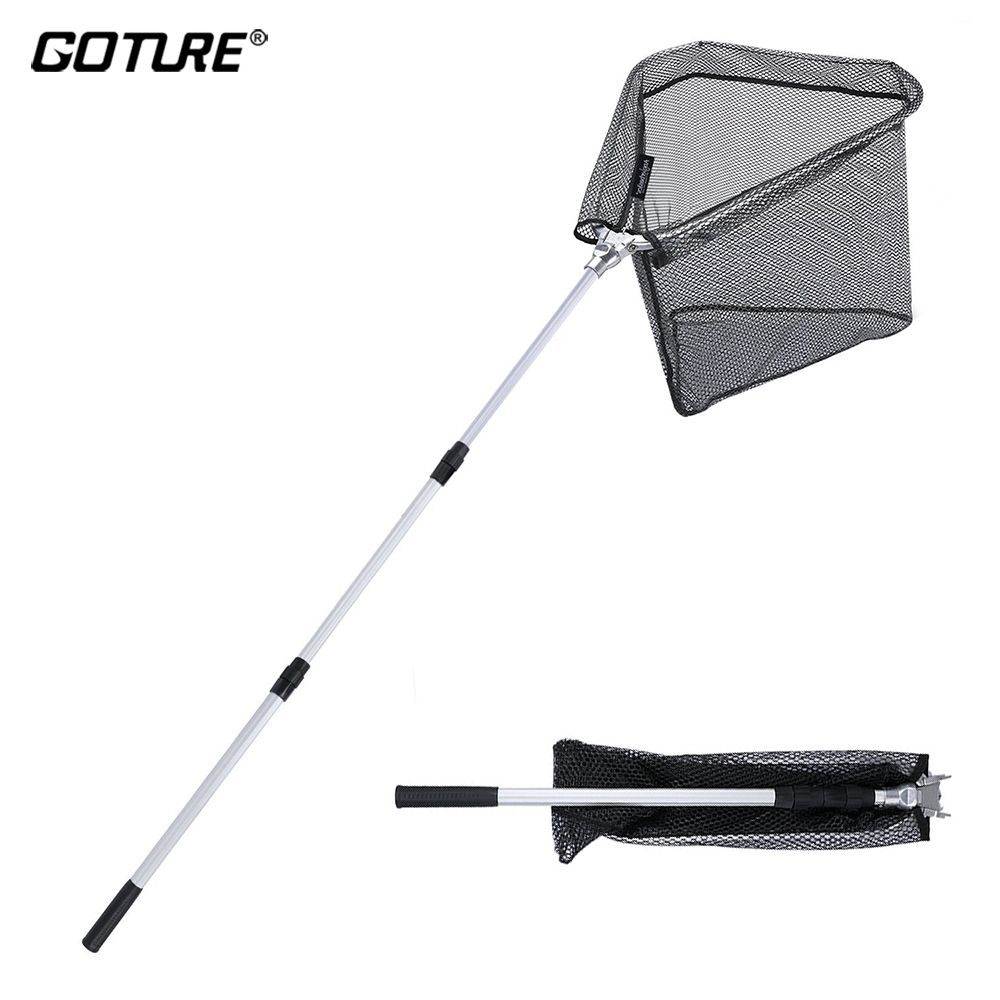 Goture Folding Fishing Landing Net 150mm/210mm with Telescopic Fishing Pole Hand Network for Fishing