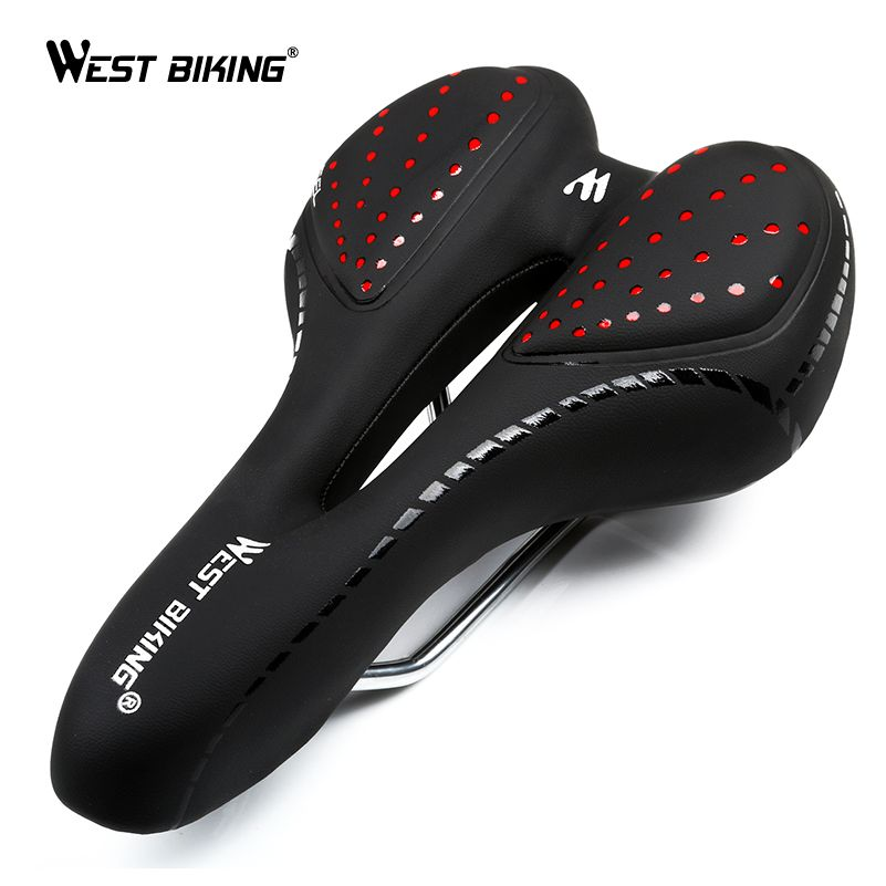 WEST BIKING Bike Silicone Cushion PU Leather Surface Silica Filled Gel Comfortable Hollow Cycling Seat <font><b>Shockproof</b></font> Bicycle Saddle