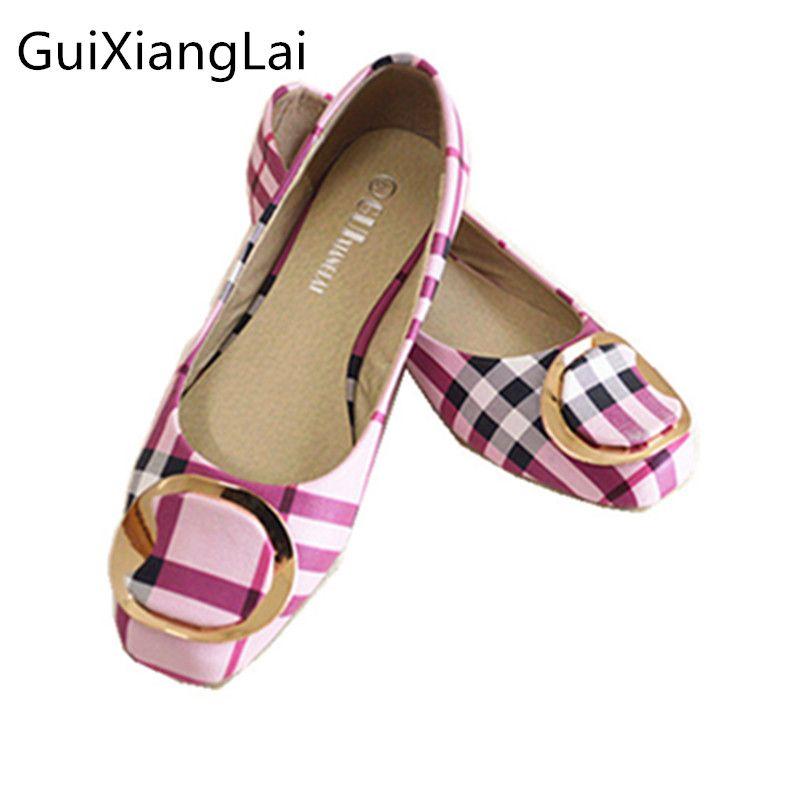 Guixianglai 2018 Корейский Новый Модные весенние женские туфли на плоской подошве женская обувь с бантом, квадратным носком и на плоской подошве, б...