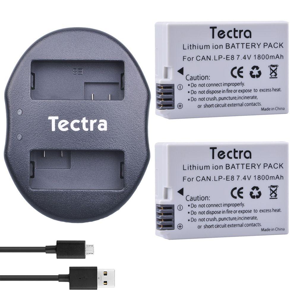 Tectra 2Pcs LP-E8 LPE8 LP E8 Li-ion Battery + USB Dual Charger for Canon EOS 550D 600D 650D 700D X4 X5 X6i X7i T2i T3i T4i T5i