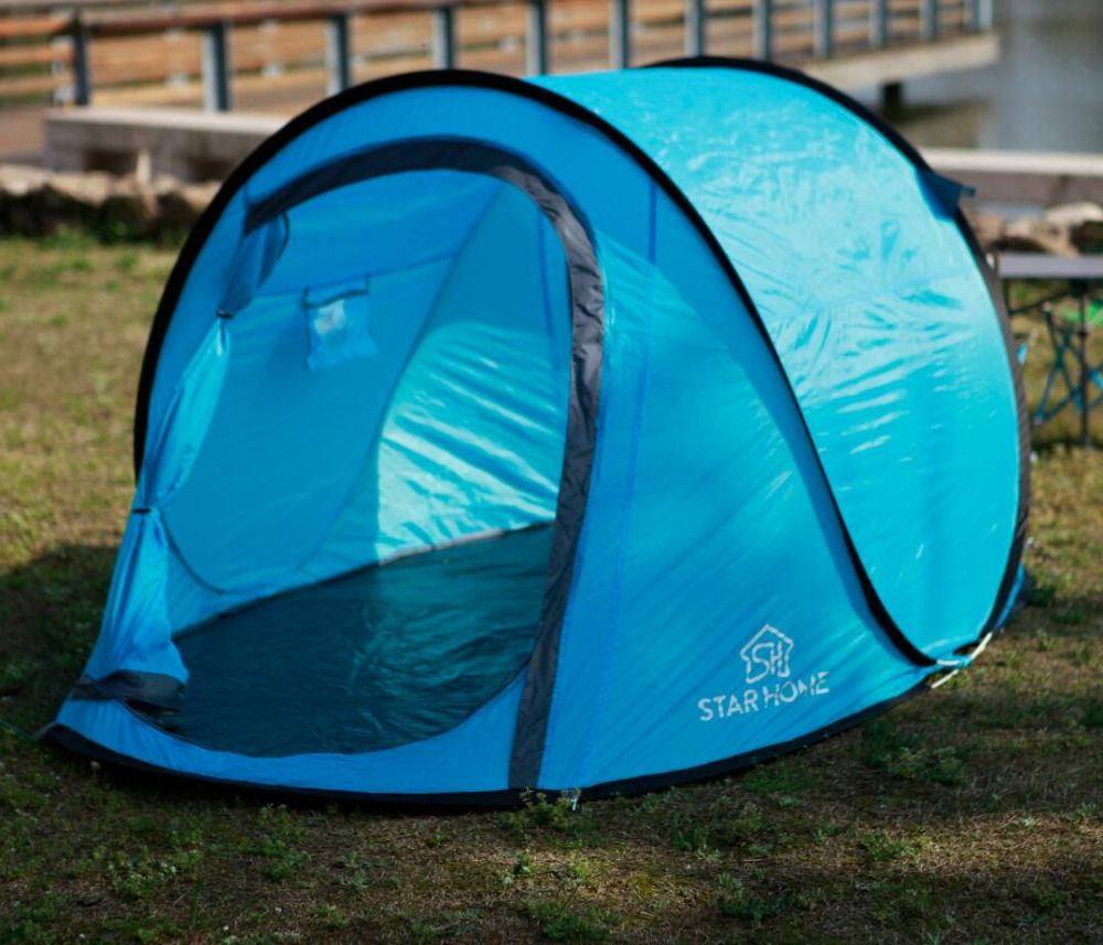 STARHOME Pop Up Camping Tente Instantanée Imperméable À L'eau Rapide Ouvert Tente Automatique 2 Personne Tente De Plage