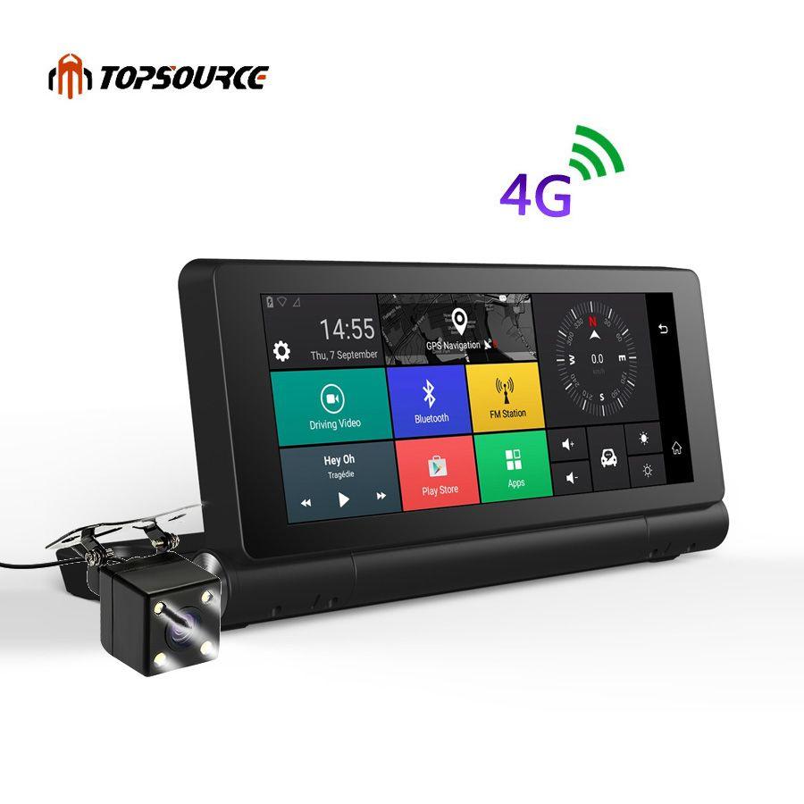 TOPSOURCE New 4G Car GPS Navigation Android 5.1 Bluetooth ROM 16GB RAM 1GB Full HD 1080P Car DVR Dual Lens Camera Navigator