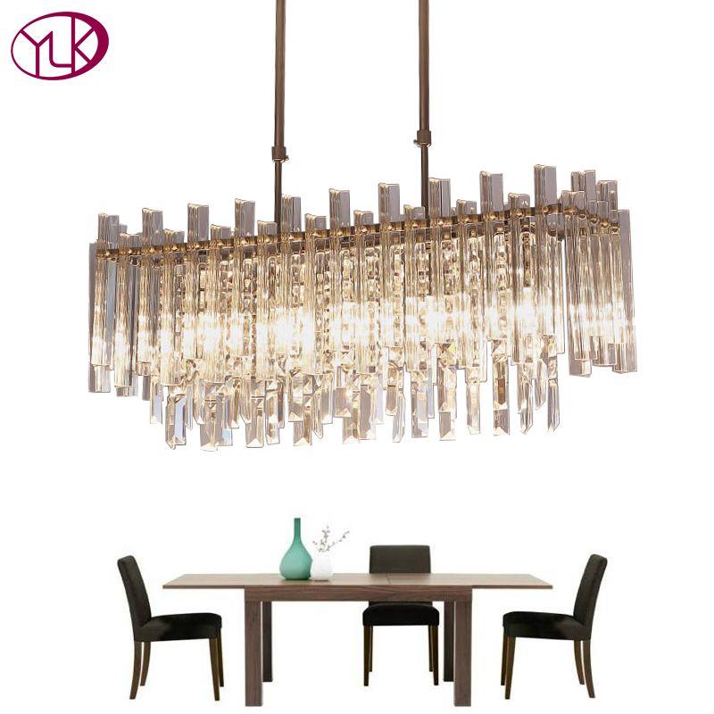 Youlaike Modern Crystal Chandelier For Dining Room Rectangle Home Decoration Lighting Fixtures LED Lustres De Cristal