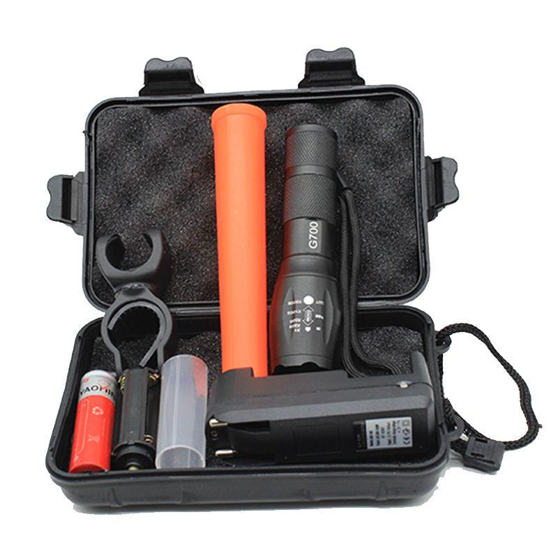 Lampe de poche militaire tactique Linternas Cree XML T6 3800LM Led + boîte-cadeau + chargeur + bâton rouge + lampe de vélo à batterie 18650
