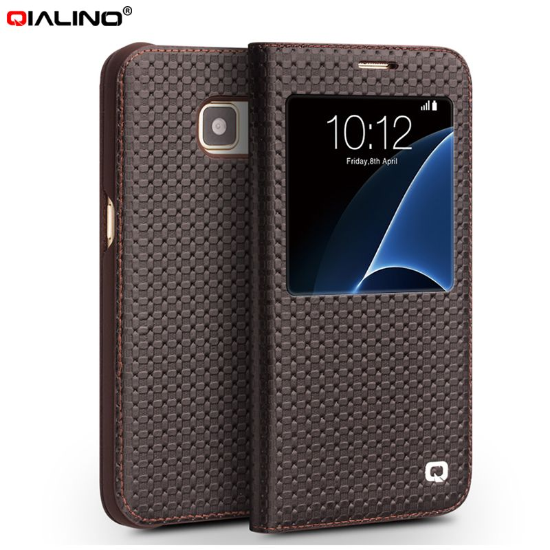 QIALINO For Samsung Galaxy S7 edge Case Smart View Window Cowhide Leather Phone Cover Case for Galaxy S7 edge G935 Shell