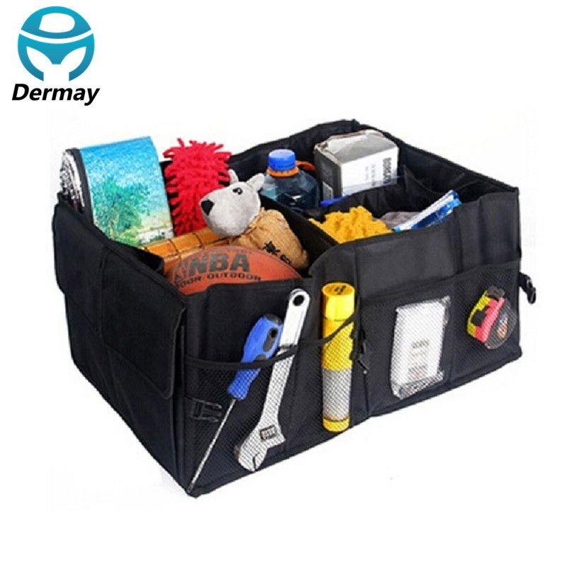 Auto Supplies Car Back Folding Storage Box Multi-Use Tools Organizer Car Portable Storage Bags Black