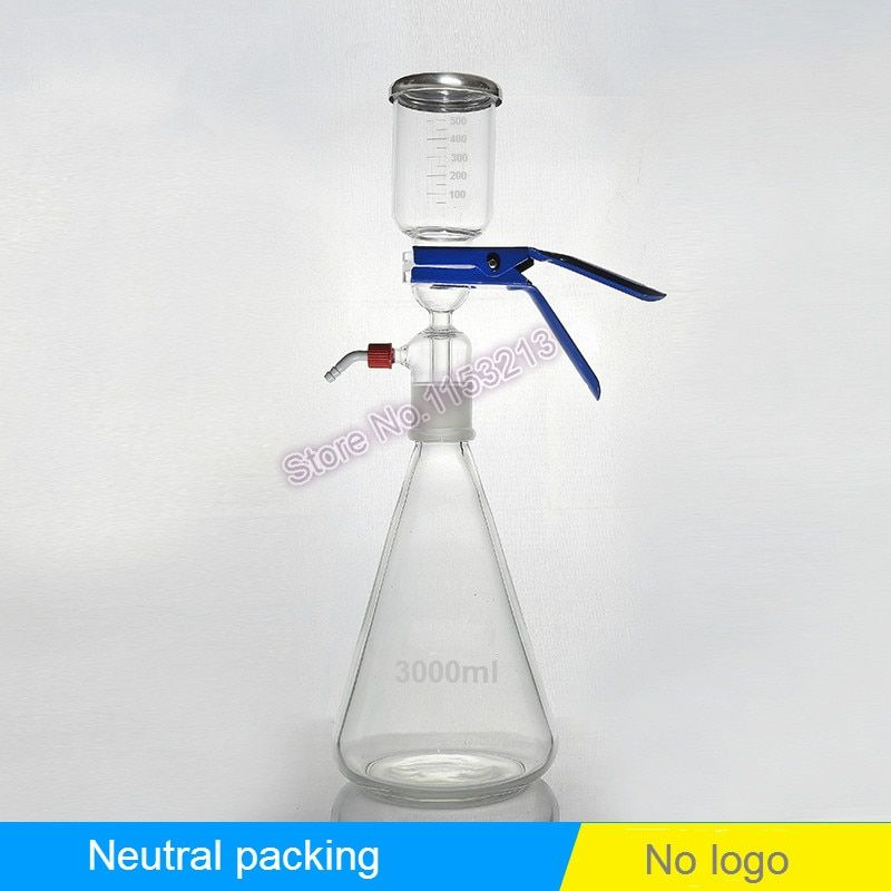 3000ml Solution filter bottle Vacuum filtration device Sand core Solvent suction filter unite with filter cup & receive bottle