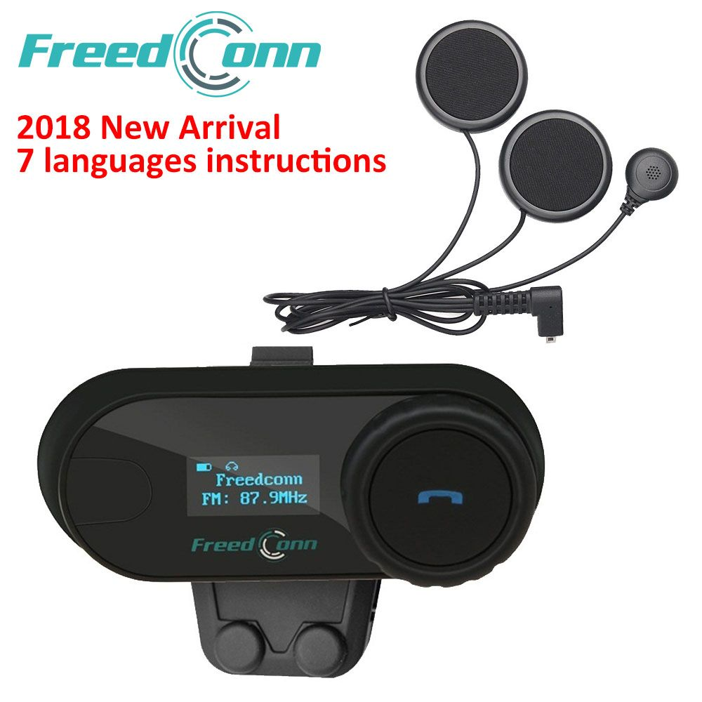 <font><b>FreedConn</b></font> 2018 TCOM-SC BT Interphone Motorcycle Helmet Wireless Bluetooth Headset Intercom with LCD FM Radio Soft Headphone