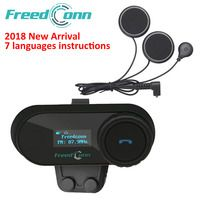 Auricular FreedConn 2018 TCOM-SC BT Interphone de la motocicleta del casco de la inalámbrico Bluetooth auricular intercomunicador con LCD FM Radio de auriculares
