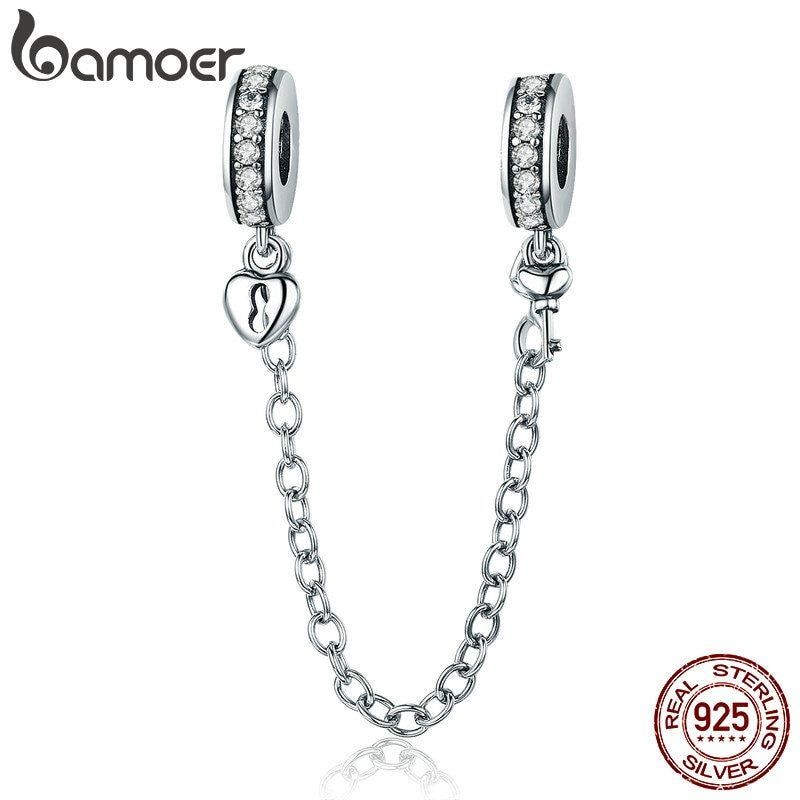 BAMOER Authentic 925 Sterling Silver Stackable Heart Love Heart Dangle Safety Chain <font><b>Charm</b></font> fit <font><b>Charm</b></font> Bracelet DIY Jewelry SCC606