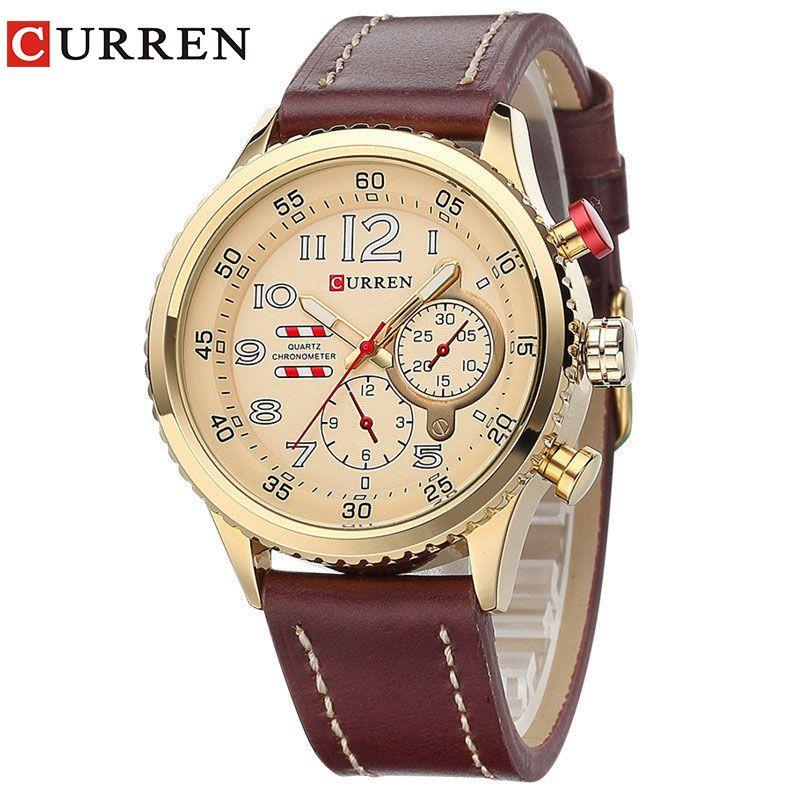 CURREN2017 New Genuine Leather Strap Gold <font><b>Business</b></font> Watch Quartz Luxury Sport Watch Men Brand Watch relogio masculino 8179