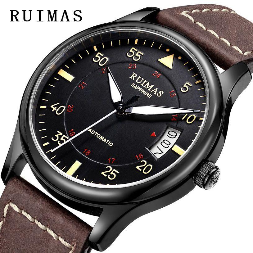 Men Fashion Leather Strap Watch Automatic Business Mechanical Watches Male Clock Wristwatches RUIMAS Erkek Kol Saati MIYOTA 8215