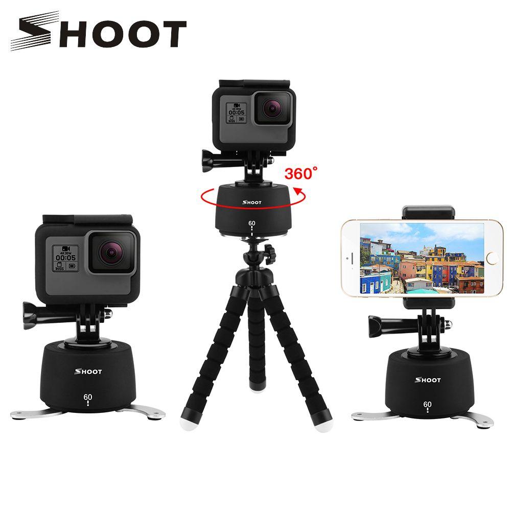 SHOOT 360 Degree Time Lapse Pan and Tilt Head Mount for Gopro Hero 7 6 SJCAM Eken Yi 4K iPhone Xiaomi dslr Action Cam Accessory