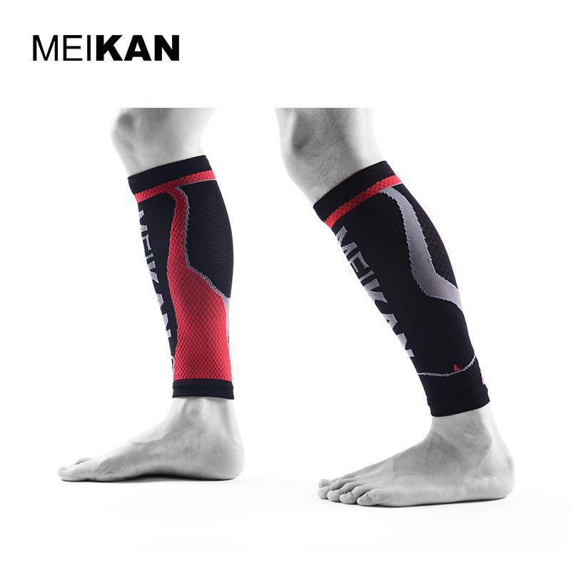 MEIKAN Radfahren Beinlinge Männer Marke Black Sport Compression Socken Lauf Espinilleras Futbol Fußball Bein Schutz Schienbeinschoner