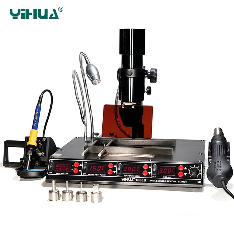 YIHUA 1000B BGA Rework Station 4 in 1 Infrared Rework Station SMD Hot Air Gun 540W Preheating Station 75W Soldering Iron station