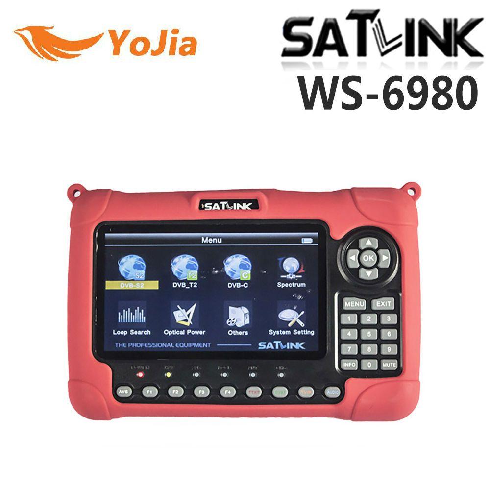 Yojia Satlink WS-6980 DVB-S2 DVB-T/T2 DVB-C Combo Digital Satellite Meter Finder 7 inch HD LCD Spectrum Analyzer constellation