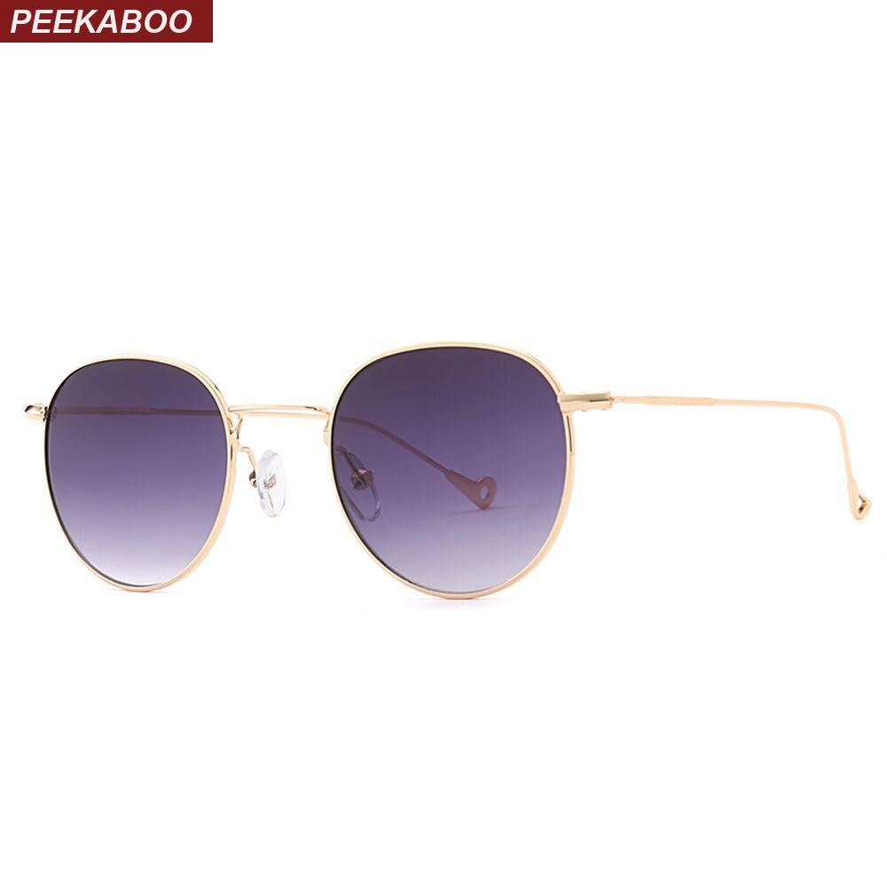Peekaboo bleu teinté lunettes de soleil hommes vert mince métal jaune clair lunettes de soleil pour femmes cadre en or uv400