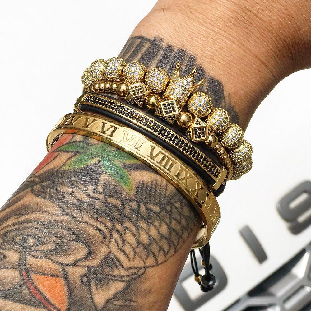 Bracelet en or Mcllroy 4 pièces/ensemble pour hommes avec couronne pavée CZ Zircon en acier inoxydable perles tressées Bracelet de tressage bijoux de luxe livraison directe