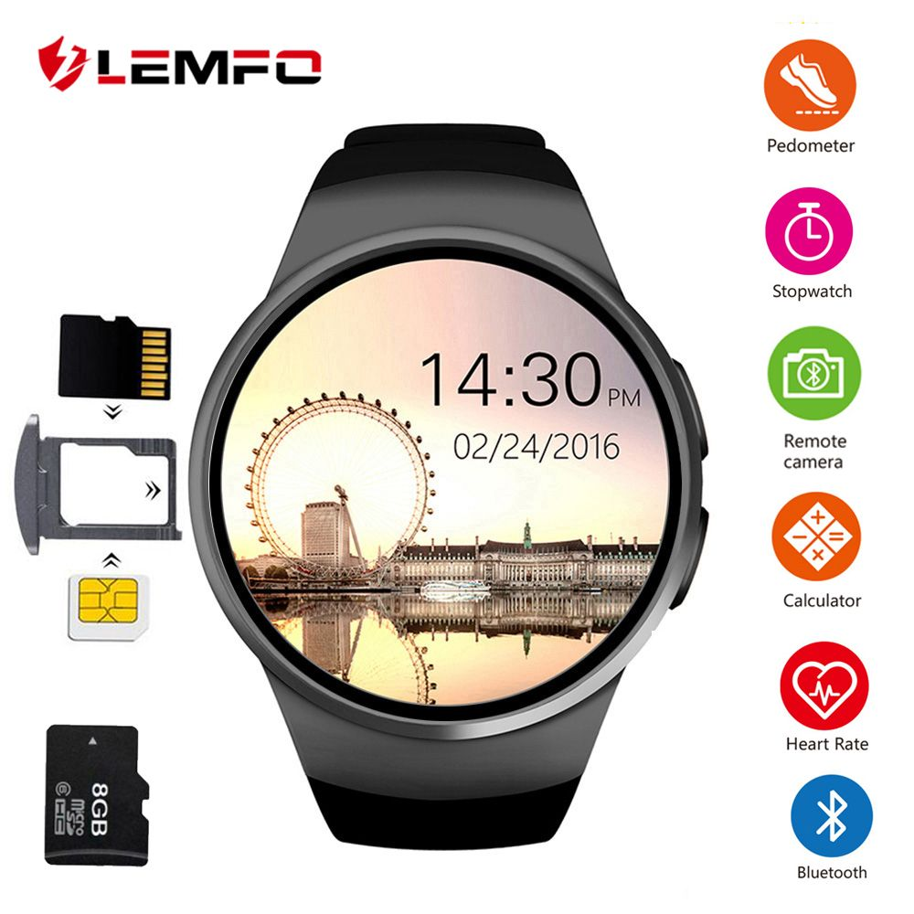 KW18 Smart Watch Men Support SIM TF Card Bluetooth Call Heart Rate Pedometer Sport Waterproof Smartwatch For Android IOS