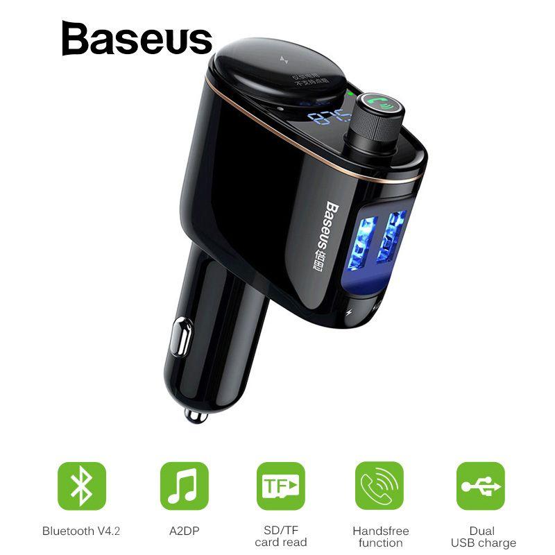 Baseus Bluetooth Auto Ladegerät MP3 Audio Player FM Sender Xiaomi Freisprecheinrichtung Aux Modulator Dual USB 3.4A Auto Mobile PhonCharger