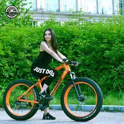 Love Freedom Bысокое качествоГорный велосипед 26*4.0 Fatbike 7/21/24/27 Скоростьамортизаторвелосипеды жирные шины Снегоход Двойные дисковые тормоза в...