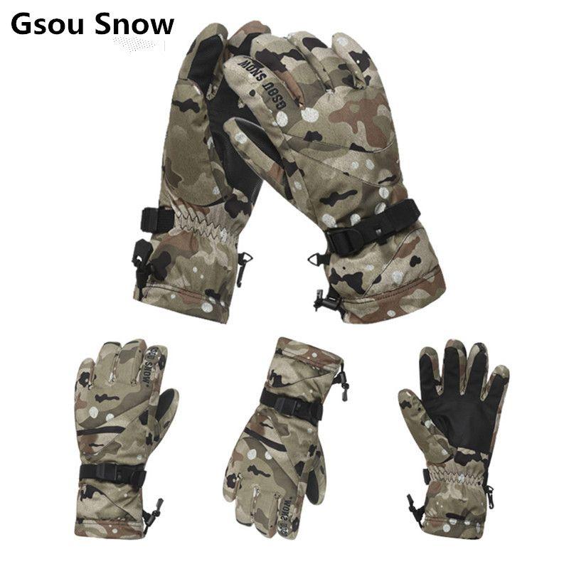 Gsou Schnee winter ski handschuhe männer schnee handschuhe snowmobile guantes snowboard handschuhe camouflage gants ski homme handschoenen mannen