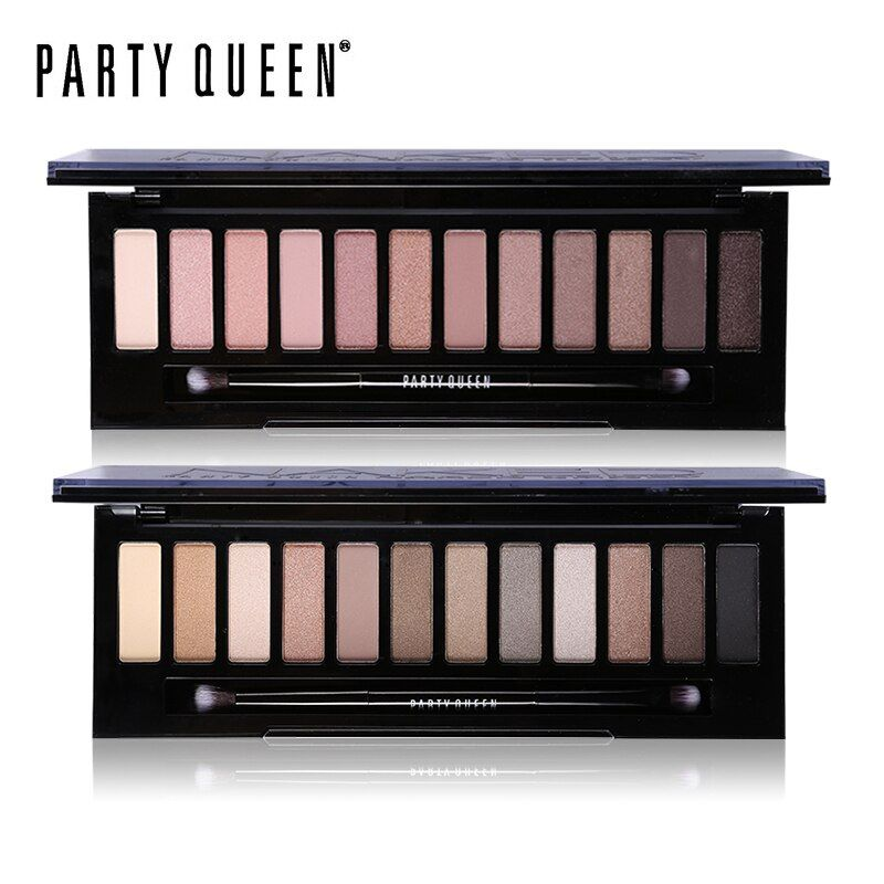 Party Queen 12 Color Smoky Eyeshadow Palette Nude Makeup Earth Color High Pigment Shimmer Matte Eye Shadow Set with Mirror Brush