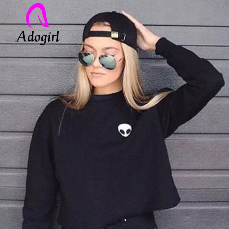 Adogirl saucer man pattern thick winter hoodies women 3D print croptops warm loose women hoodies Unseasonal clearance outfits