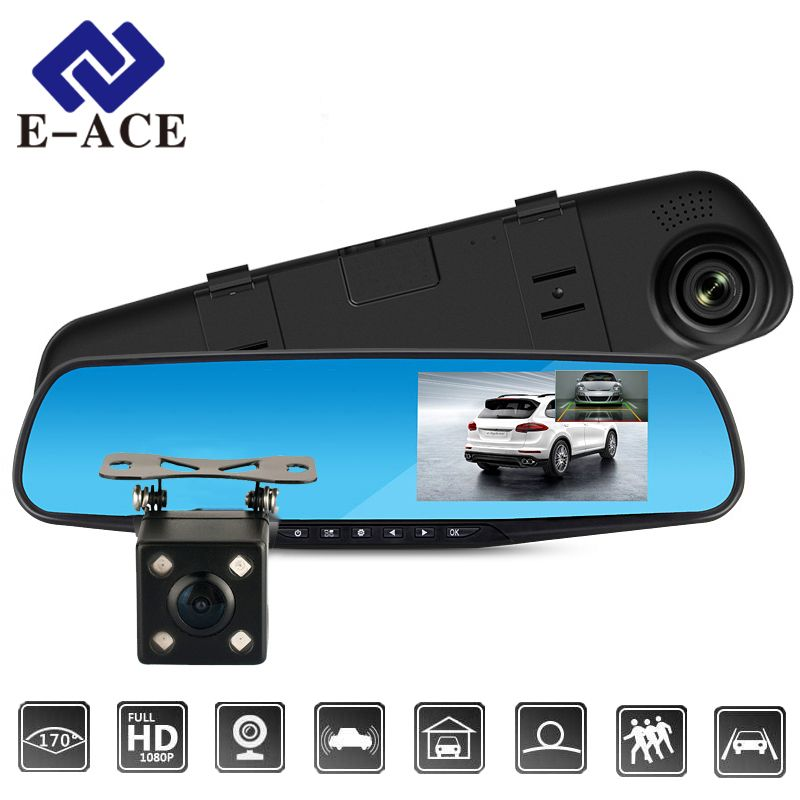 E-ACE Full HD 1080P Car Dvr Camera Auto 4.3 Inch Rearview Mirror Digital Video Recorder Dual Lens Registratory Camcorder