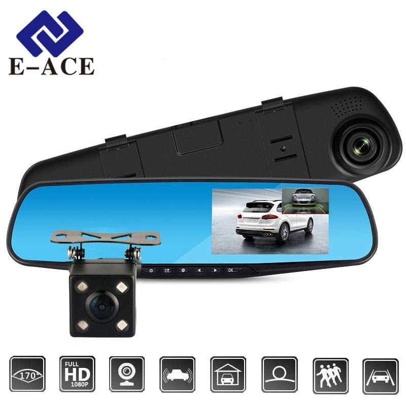 E-ACE Full HD 1080 P voiture Dvr caméra Auto 4.3 pouces rétroviseur numérique enregistreur vidéo double lentille enregistrement caméscope